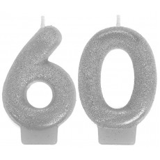 60th Birthday Sparkling Celebration Numeral Candles Pack of 2