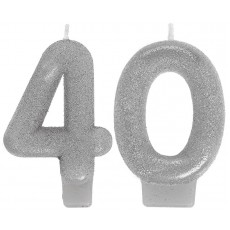 40th Birthday Sparkling Celebration Numeral Candles Pack of 2