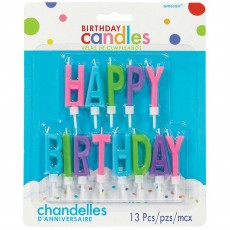 Happy Birthday Bright Multi Coloured  Candle
