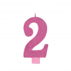 Number 2 Party Supplies - Candle Large Glitter Pink 13cm