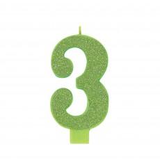 Number 3 Glitter Kiwi Large Candle