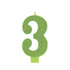 Number 3 Party Supplies - Candle Large Glitter Kiwi 13cm