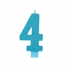 Number 4 Party Supplies - Candle Large Glitter Caribbean Blue 13cm
