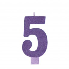 Number 5 Party Supplies - Candle Large Glitter Purple 13cm