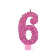 Number 6 Party Supplies - Candle Large Glitter Pink 13cm