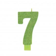 Number 7 Glitter Kiwi Large Candle