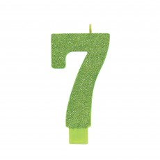 Number 7 Glittered Green  Candle