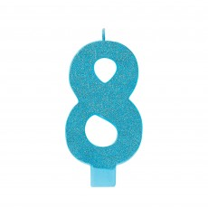 Number 8 Party Supplies - Candle Large Glitter Caribbean Blue 13cm