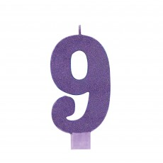 Number 9 Party Supplies - Candle Large Glitter Purple 13cm