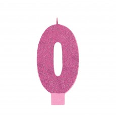 Number 0 Glitter Pink Large Candle