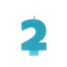 Number 2 Glittered Blue  Candle