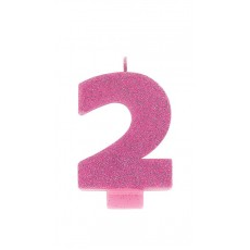 Number 2 Party Supplies - Candle Glitter Pink 8cm