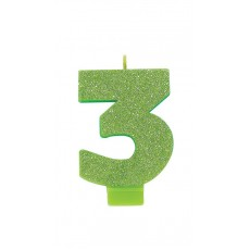 Number 3 Party Supplies - Candle Glitter Kiwi 8cm