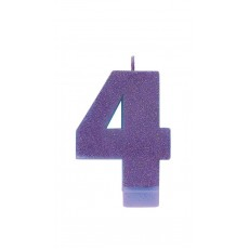 Number 4 Party Supplies - Candle Glitter Purple 8cm