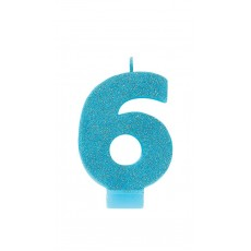 Number 6 Party Supplies - Candle Glitter Caribbean Blue 8cm