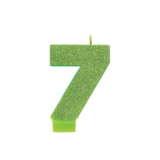 Number 7 Party Supplies - Candle Glitter Kiwi 8cm
