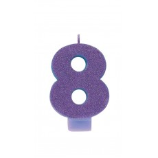 Number 8 Party Supplies - Candle Glitter Purple 8cm