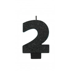 Number 2 Party Supplies - Candle Glitter Black 8cm