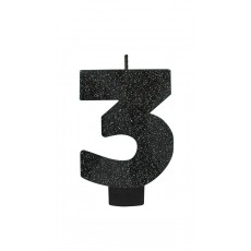 Number 3 Black Sparkle Glittered  Candle