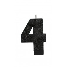 Number 4 Black Sparkle Glittered  Candle
