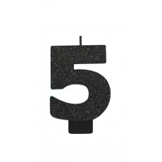 Number 5 Party Supplies - Candle Glitter Black 8cm
