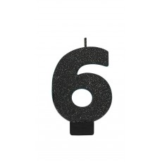 Number 6 Party Supplies - Candle Glitter Black 8cm