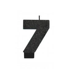 Number 7 Black Sparkle Glittered  Candle