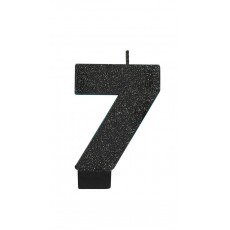 Number 7 Party Supplies - Candle Glitter Black 8cm