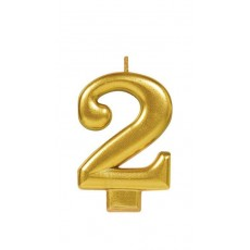 Number 2 Party Supplies - Candle Metallic Gold 8cm