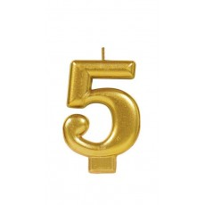 Number 5 Party Supplies - Candle Metallic Gold 8cm