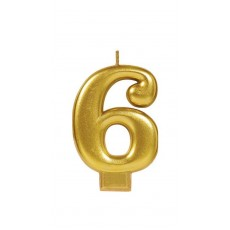 Number 6 Party Supplies - Candle Metallic Gold 8cm