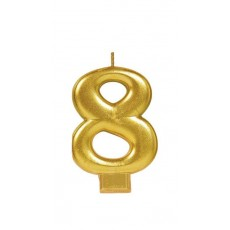Number 8 Party Supplies - Candle Metallic Gold 8cm