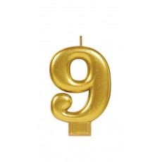 Number 9 Party Supplies - Candle Metallic Gold 8cm