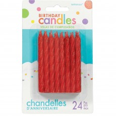 Glitter Red Large Spiral Candles 8cm Pack of 24