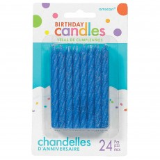 Blue Large Glitter Spiral Candles