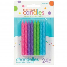 Multi Colour Bright ed Large Spiral Glitter Candles