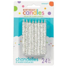 White Glitter Large Spiral Candles