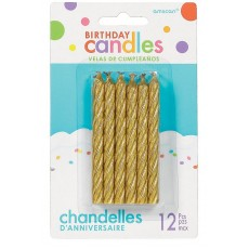 Glitter Gold Large Spiral Candles 8cm Pack of 12