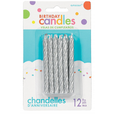 Silver Glitter Large Spiral Candles