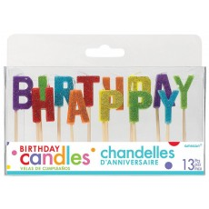Glittered Primary Colours Happy Birthday Letter Pick Candles 2.5cm Pack of 13