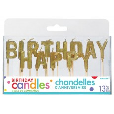 Metallic Gold Happy Birthday Letter Pick Candles 2.5cm Pack of 13