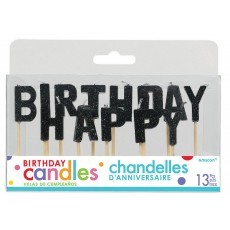 Glitter Black Happy Birthday Letter Pick Candles 2.5cm Pack of 13
