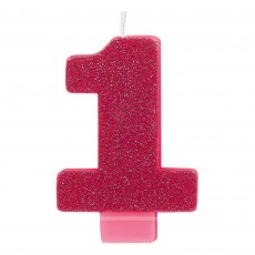 Number 1 Bright Pink Glittered  Candle
