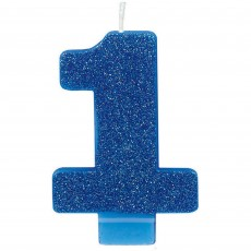 Number 1 Bright Blue Glittered  Candle