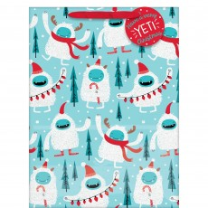 Christmas Yeti Extra Large Vertical Gift Bag & Gift Tag Favour Bag