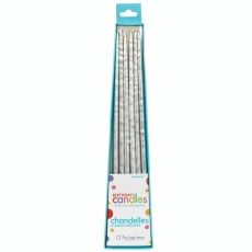 Silver Long Thin Taper Candles 25cm Pack of 12