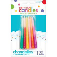 Multi Colour Ombre Look Candles 8cm Pack of 12