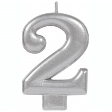 Number 2 Party Supplies - Candle Moulded Metallic Silver 8cm