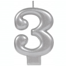 Number 3 Party Supplies - Candle Moulded Metallic Silver 8cm