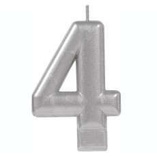 Number 4 Party Supplies - Candle Moulded Metallic Silver 8cm
